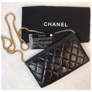 CERTIFIED AUTH. CHANEL QUILTED LAMBSKIN WALLET